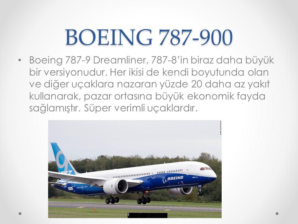 BOEING 787-900 Boeing 787-9 Dreamliner, 787-8'in biraz daha büyük bir versiyonudur. Her ikisi de kendi boyutunda olan ve diğer uçaklara nazaran yüzde