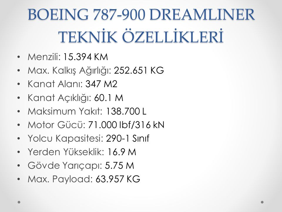 BOEING 787-900 DREAMLINER TEKNİK ÖZELLİKLERİ Menzili: 15.394 KM Max. Kalkış Ağırlığı: 252.651 KG Kanat Alanı: 347 M2 Kanat Açıklığı: 60.1 M Maksimum Y