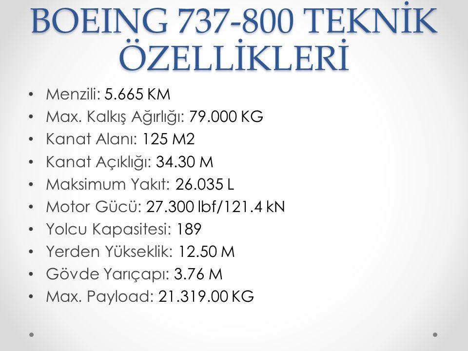 BOEING 737-800 TEKNİK ÖZELLİKLERİ Menzili: 5.665 KM Max. Kalkış Ağırlığı: 79.000 KG Kanat Alanı: 125 M2 Kanat Açıklığı: 34.30 M Maksimum Yakıt: 26.035