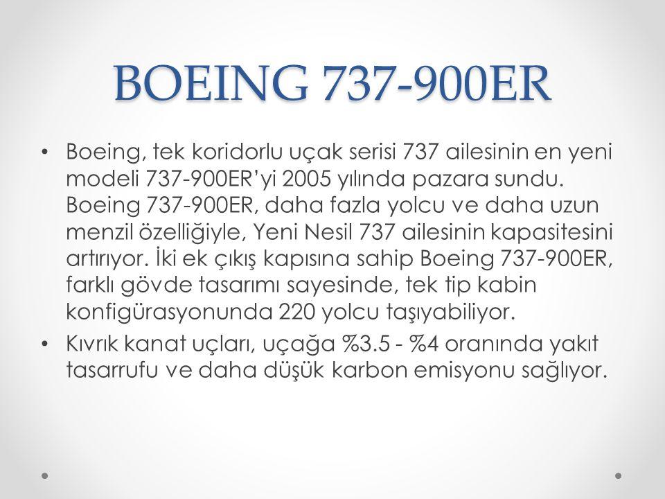 BOEING 737-900ER Boeing, tek koridorlu uçak serisi 737 ailesinin en yeni modeli 737-900ER'yi 2005 yılında pazara sundu. Boeing 737-900ER, daha fazla y