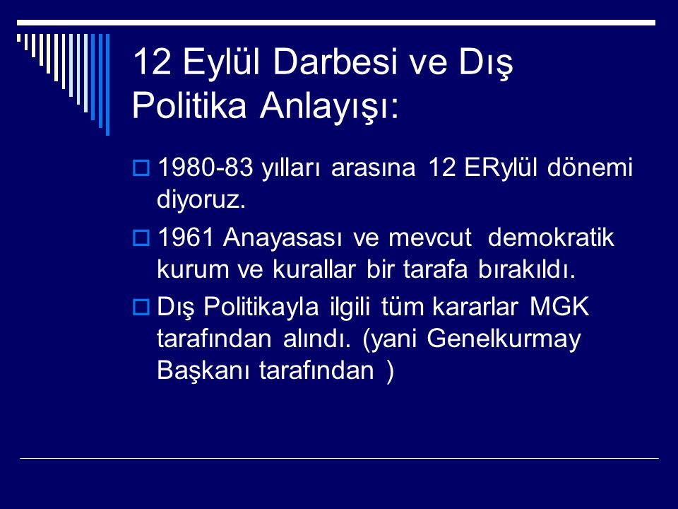 12 Eylül Darbesi ve Dış Politika Anlayışı:  1980-83 yılları arasına 12 ERylül dönemi diyoruz.