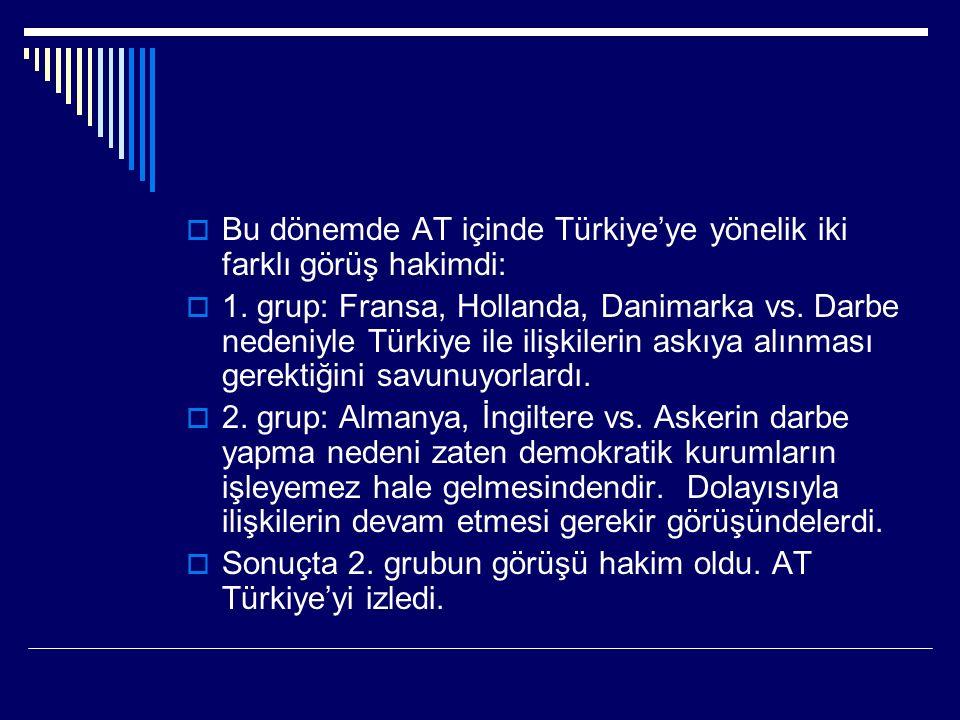  Bu dönemde AT içinde Türkiye'ye yönelik iki farklı görüş hakimdi:  1.