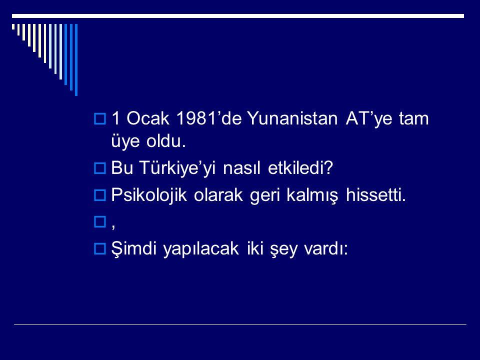  1 Ocak 1981'de Yunanistan AT'ye tam üye oldu.  Bu Türkiye'yi nasıl etkiledi.