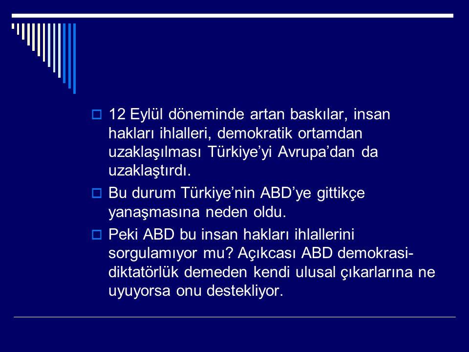  12 Eylül döneminde artan baskılar, insan hakları ihlalleri, demokratik ortamdan uzaklaşılması Türkiye'yi Avrupa'dan da uzaklaştırdı.