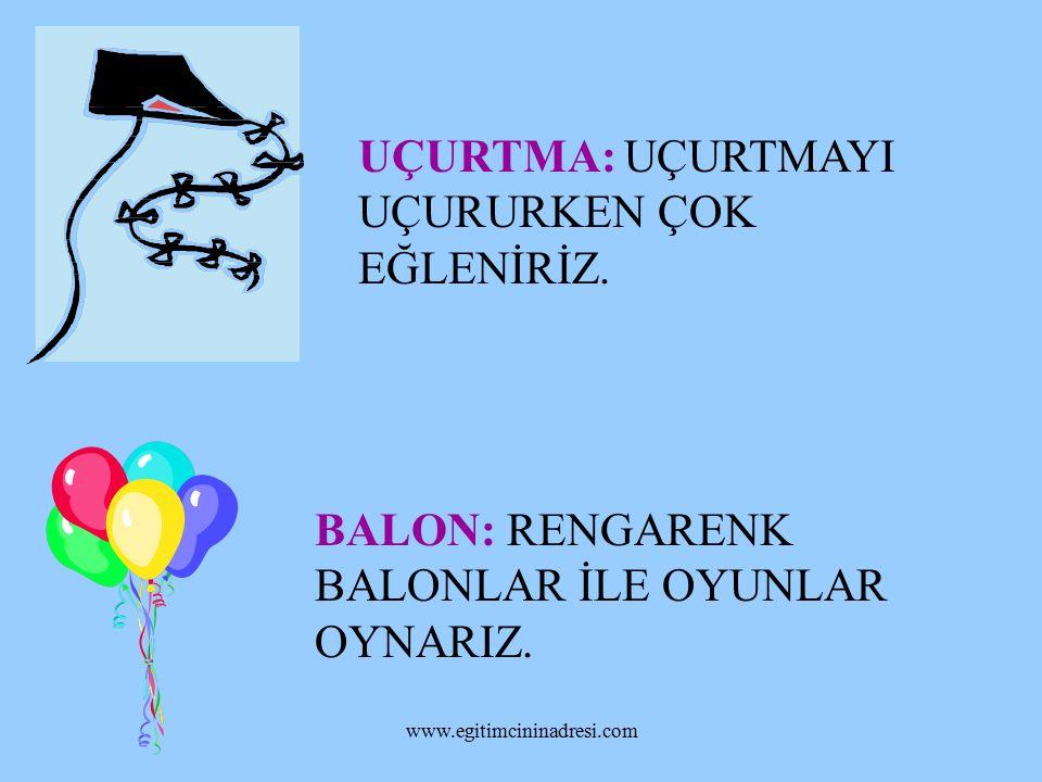 TOP: TOPLA OYUN OYNARIZ. BEBEK: BEBEKLE EVCİLİK TÜRÜ OYUNLARI OYNARIZ. www.egitimcininadresi.com