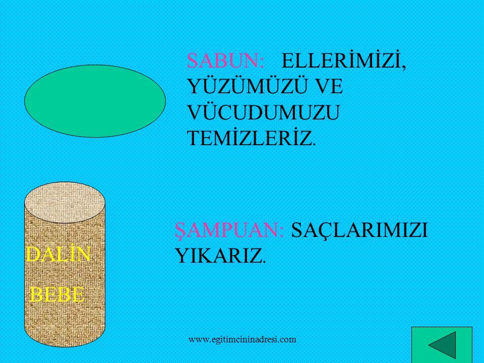 SÜPÜRGE: İLE YERLERİ SÜPÜRÜRÜZ TARAK: İLE SAÇLARIMIZI TARARIZ www.egitimcininadresi.com