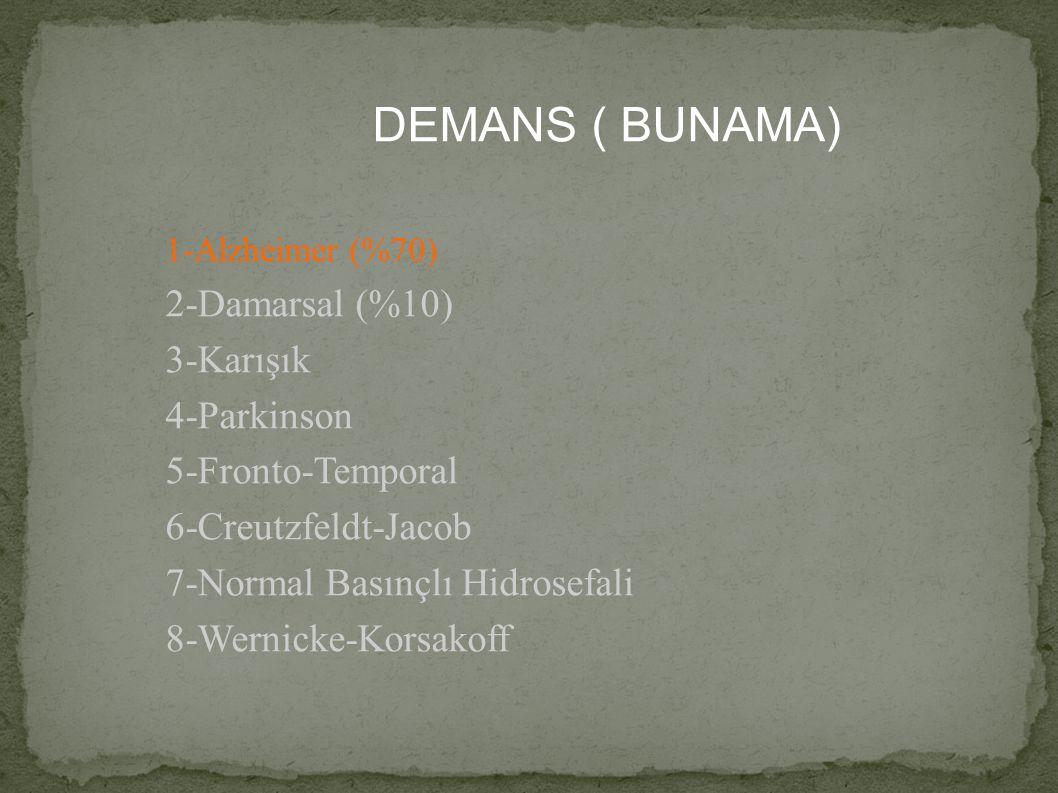 DEMANS ( BUNAMA) 1-Alzheimer (%70) 2-Damarsal (%10) 3-Karışık 4-Parkinson 5-Fronto-Temporal 6-Creutzfeldt-Jacob 7-Normal Basınçlı Hidrosefali 8-Wernic
