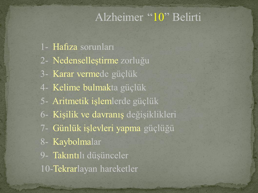 Alzheimer 10 Belirti 1- Hafıza sorunları 2- Nedenselleştirme zorluğu 3- Karar vermede güçlük 4- Kelime bulmakta güçlük 5- Aritmetik işlemlerde güçlük 6- Kişilik ve davranış değişiklikleri 7- Günlük işlevleri yapma güçlüğü 8- Kaybolmalar 9- Takıntılı düşünceler 10-Tekrarlayan hareketler