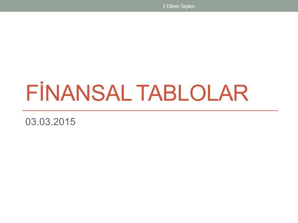 FİNANSAL TABLOLAR 03.03.2015 F.Dilvin Taşkın