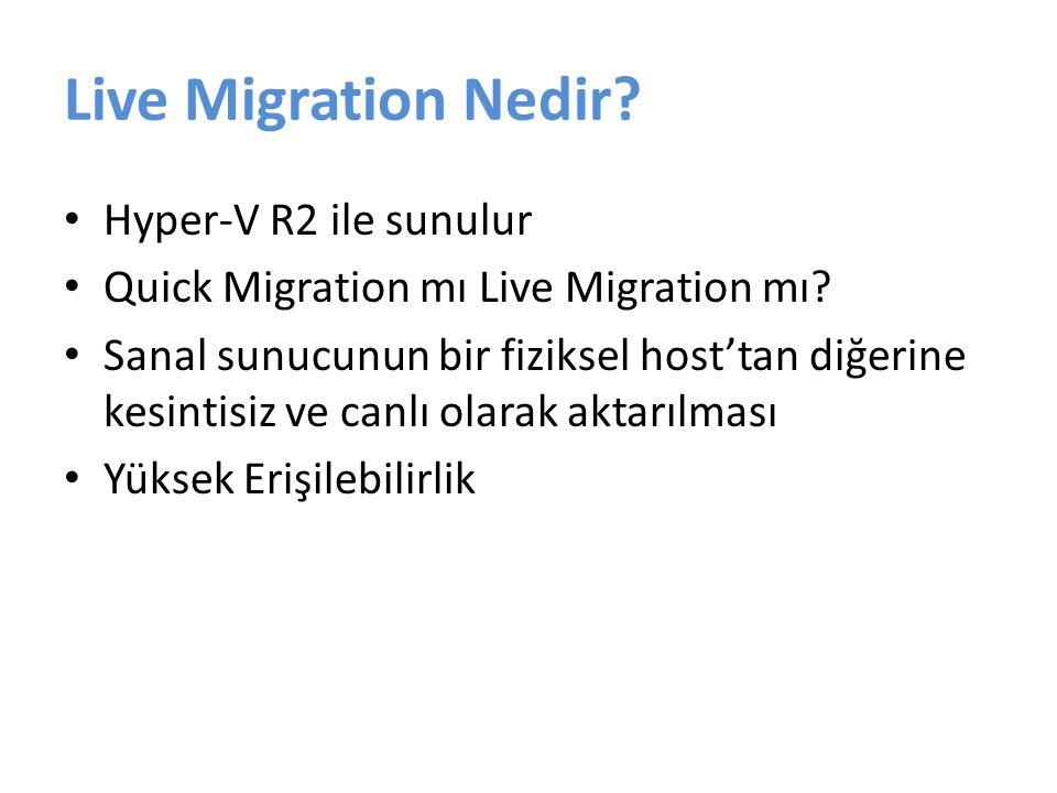 Live Migration Avantajları Yüksek Erişilebilirlik Bakım Çalışmaları – Gün içerisinde çalışma yapabilme Green IT Aynı işlemci üreticisinin farklı modelleri arası taşıma Ücretsiz