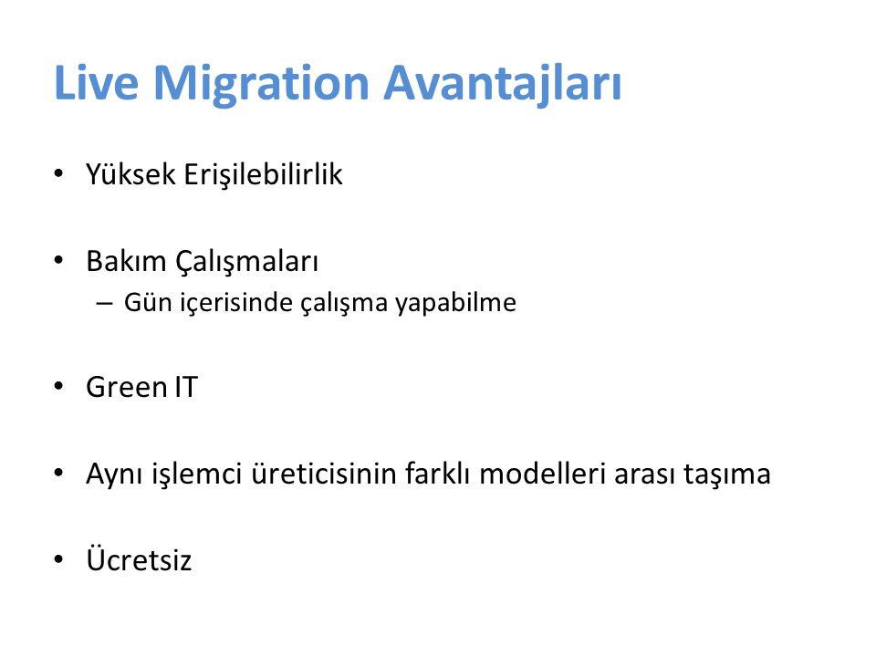 Live Migration Avantajları Yüksek Erişilebilirlik Bakım Çalışmaları – Gün içerisinde çalışma yapabilme Green IT Aynı işlemci üreticisinin farklı model