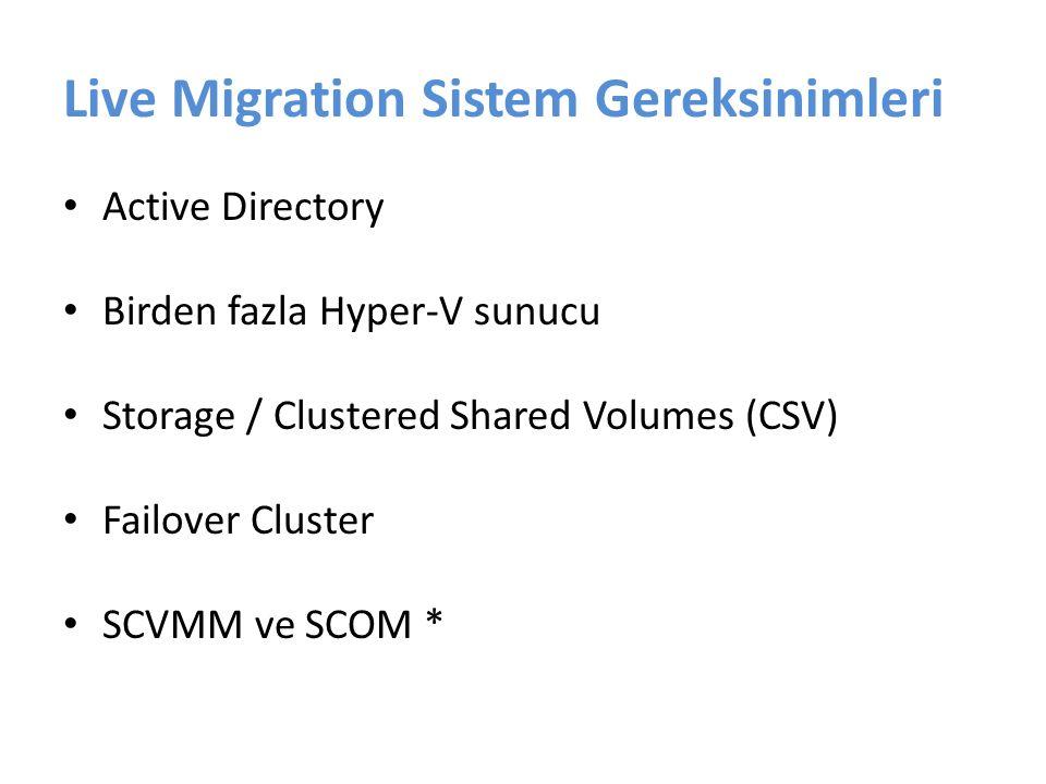 Live Migration Kurulumu Fiziksel sunucuların kurulumu Fiziksel sunucuların ağ ve storage bağlantılarının yapılması Her bir sunucuda Hyper-V ve Failover Cluster kurulumu CSV'nin aktif edilmesi Sanal makinelerin High Available yapılması Live Migration testi SCVMM ve SCOM kurulumu *