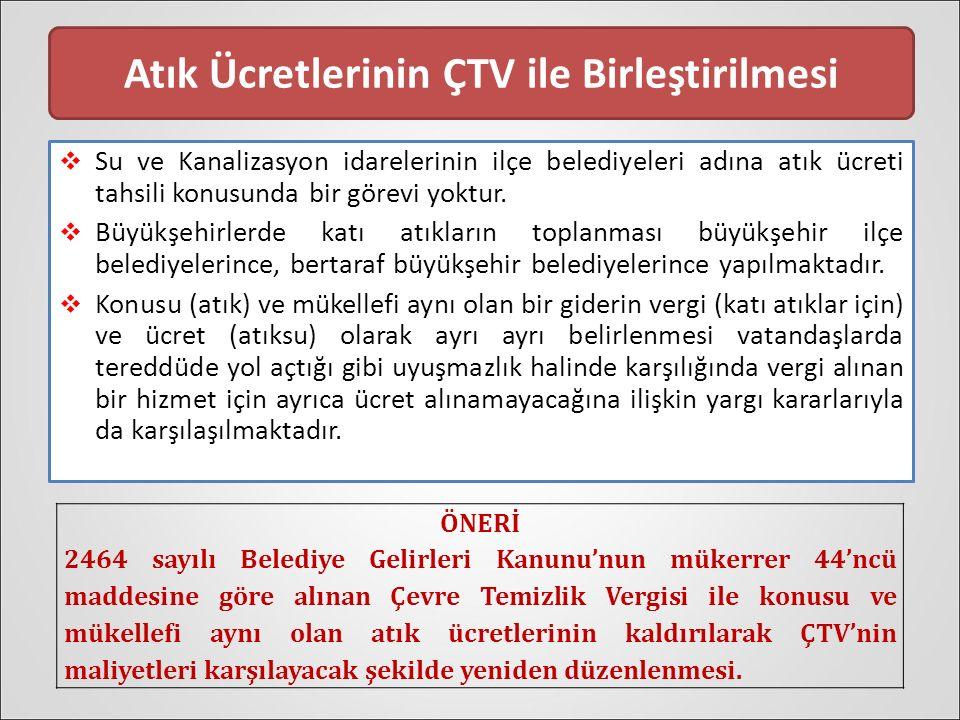 Atık Ücretlerinin ÇTV ile Birleştirilmesi  Su ve Kanalizasyon idarelerinin ilçe belediyeleri adına atık ücreti tahsili konusunda bir görevi yoktur.