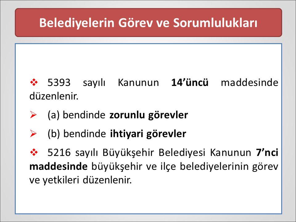 Belediyelerin Görev ve Sorumlulukları  5393 sayılı Kanunun 14'üncü maddesinde düzenlenir.