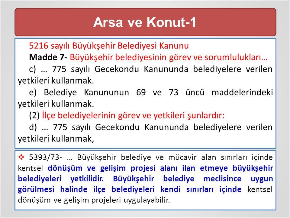 Arsa ve Konut-1 5216 sayılı Büyükşehir Belediyesi Kanunu Madde 7- Büyükşehir belediyesinin görev ve sorumlulukları… c) … 775 sayılı Gecekondu Kanununda belediyelere verilen yetkileri kullanmak.
