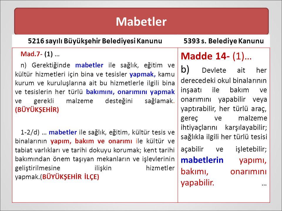 Mabetler 5216 sayılı Büyükşehir Belediyesi Kanunu5393 s.