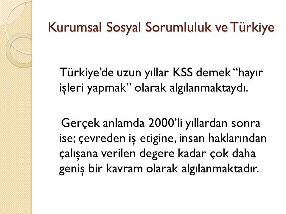 """Kurumsal Sosyal Sorumluluk ve Türkiye Türkiye'de uzun yıllar KSS demek """"hayır işleri yapmak"""" olarak algılanmaktaydı. Gerçek anlamda 2000'li yıllardan"""