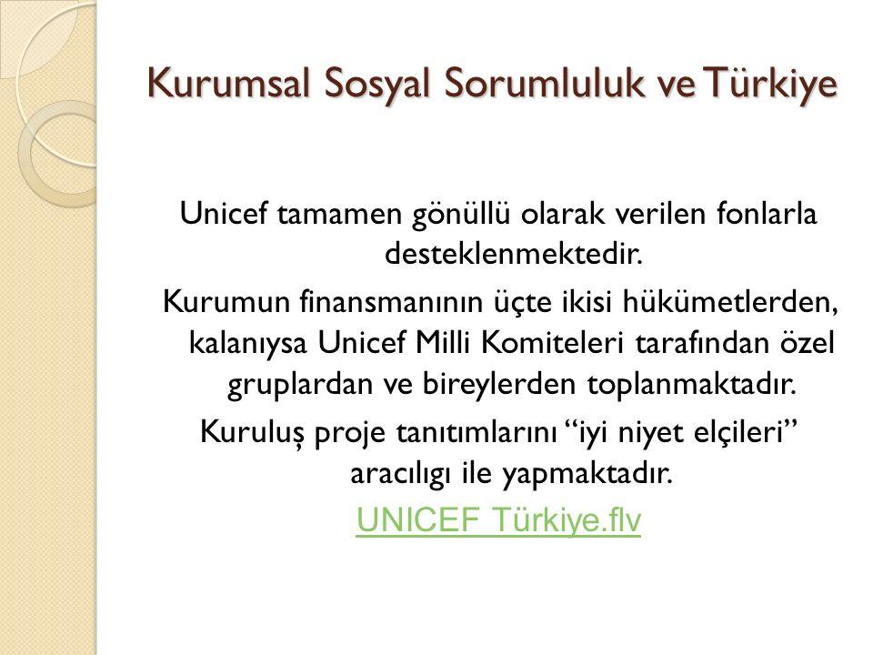 Kurumsal Sosyal Sorumluluk ve Türkiye Unicef tamamen gönüllü olarak verilen fonlarla desteklenmektedir. Kurumun finansmanının üçte ikisi hükümetlerden