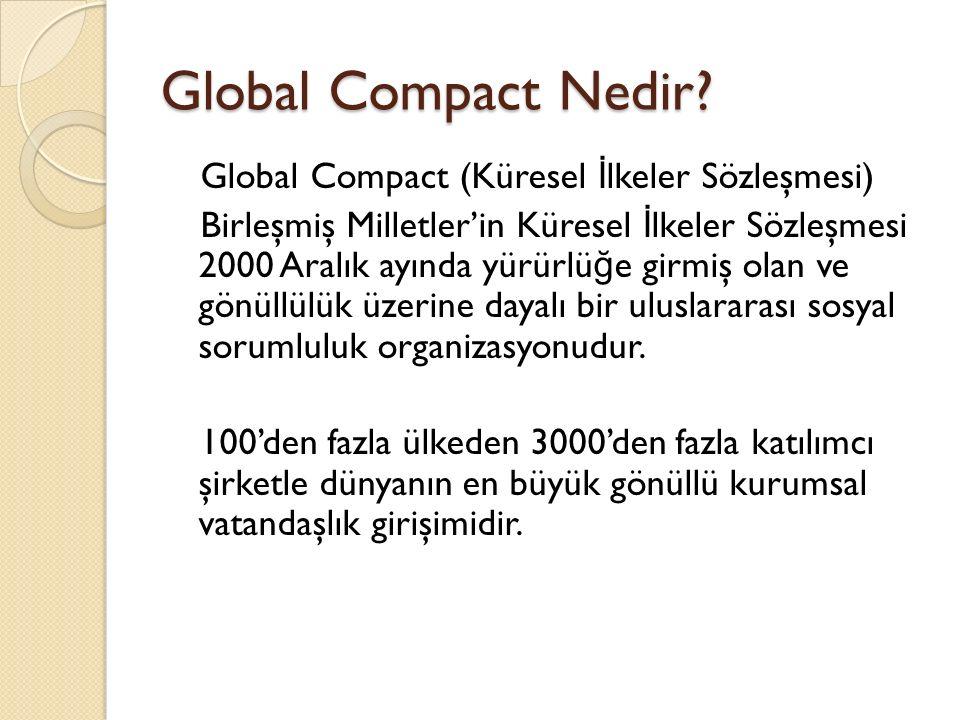 Global Compact Nedir? Global Compact (Küresel İ lkeler Sözleşmesi) Birleşmiş Milletler'in Küresel İ lkeler Sözleşmesi 2000 Aralık ayında yürürlü ğ e g
