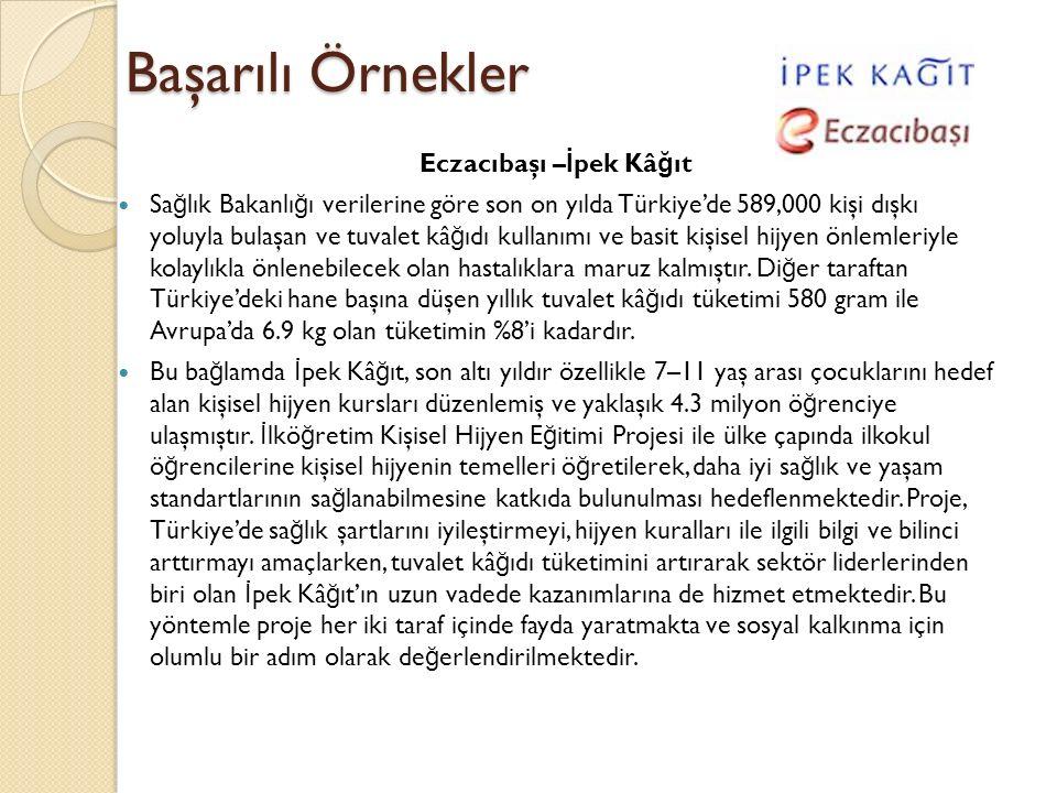 Başarılı Örnekler Eczacıbaşı – İ pek Kâ ğ ıt Sa ğ lık Bakanlı ğ ı verilerine göre son on yılda Türkiye'de 589,000 kişi dışkı yoluyla bulaşan ve tuvale