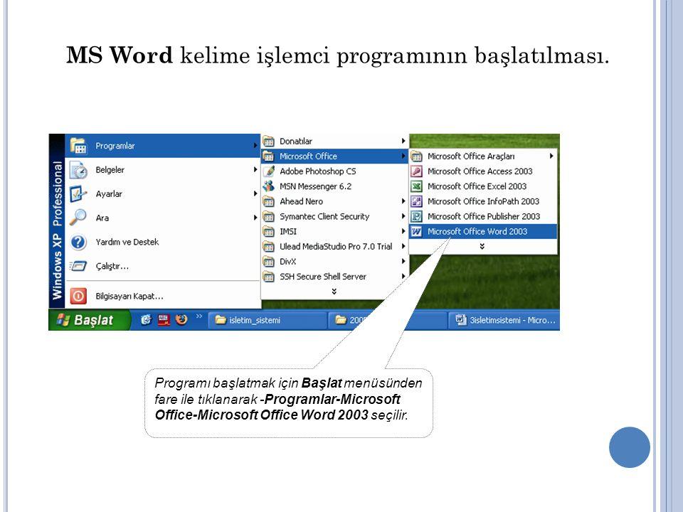 MS Word kelime işlemci programının başlatılması.