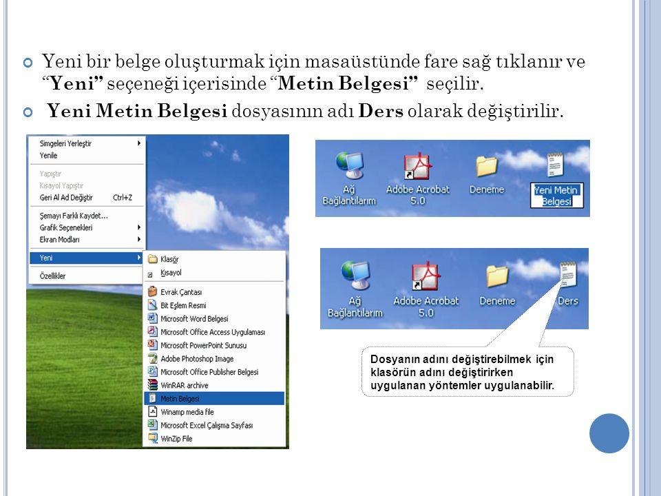 Yeni bir belge oluşturmak için masaüstünde fare sağ tıklanır ve Yeni seçeneği içerisinde Metin Belgesi seçilir.