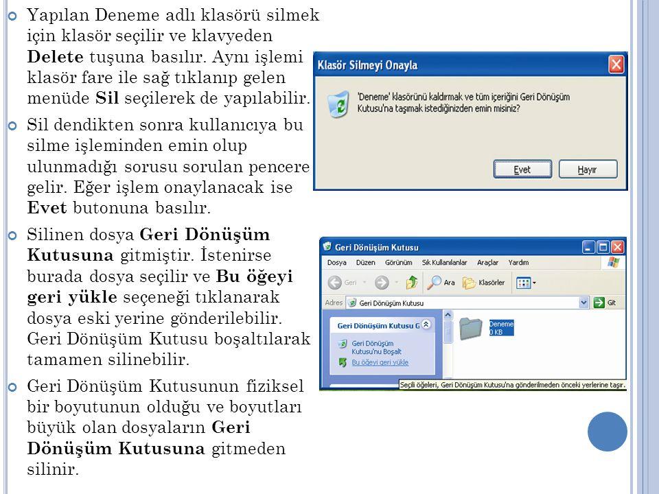 Disketleri formatlayabilmek için Bilgisayarım simgesinden girilerek 3½ Disket (A) seçeneği fare ile sağ tıklanır.