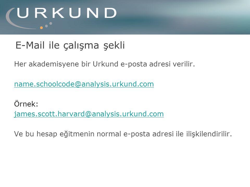 E-Mail ile çalışma şekli Her akademisyene bir Urkund e-posta adresi verilir.
