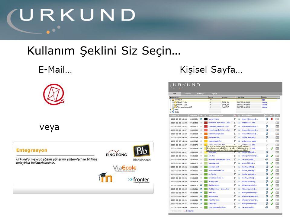 Kişisel Sayfa…E-Mail… Kullanım Şeklini Siz Seçin… veya