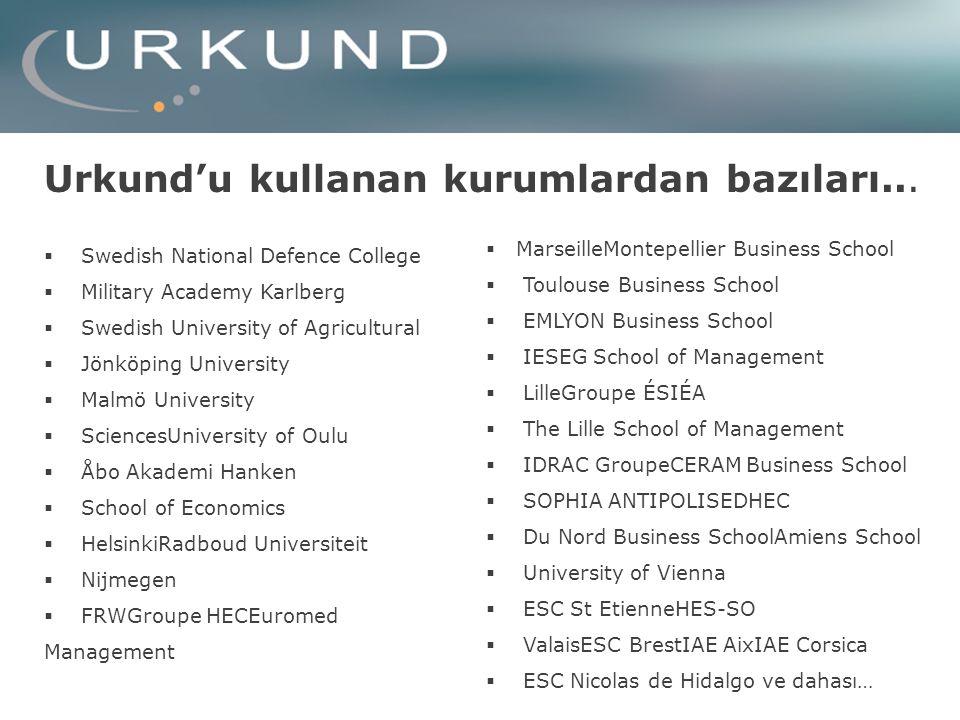 Urkund'u kullanan kurumlardan bazıları...