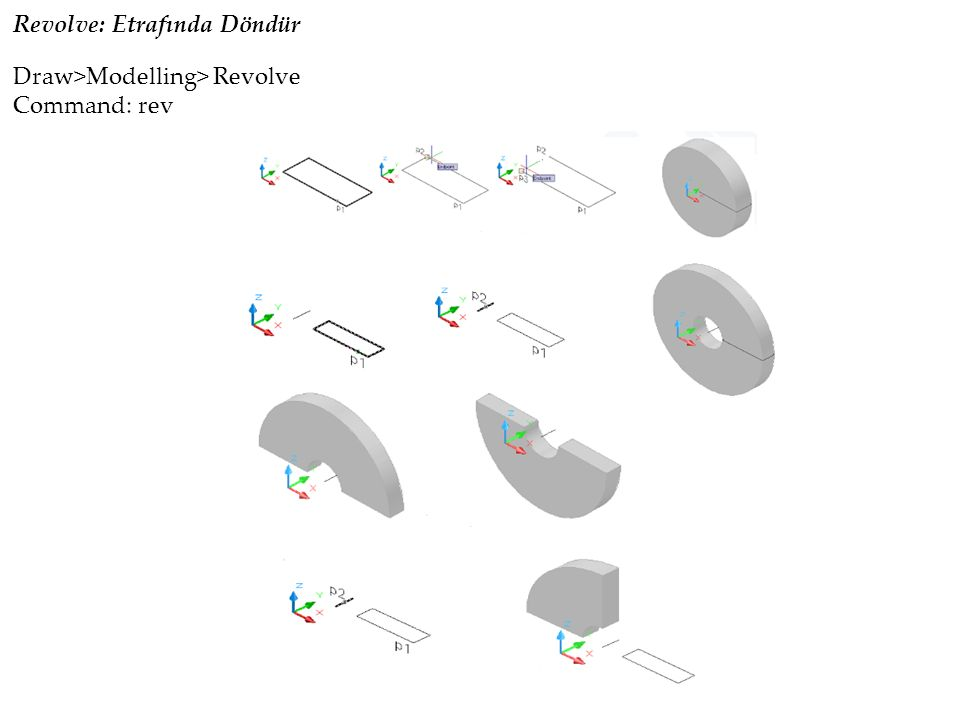 Revolve: Etrafında Döndür Draw>Modelling> Revolve Command: rev