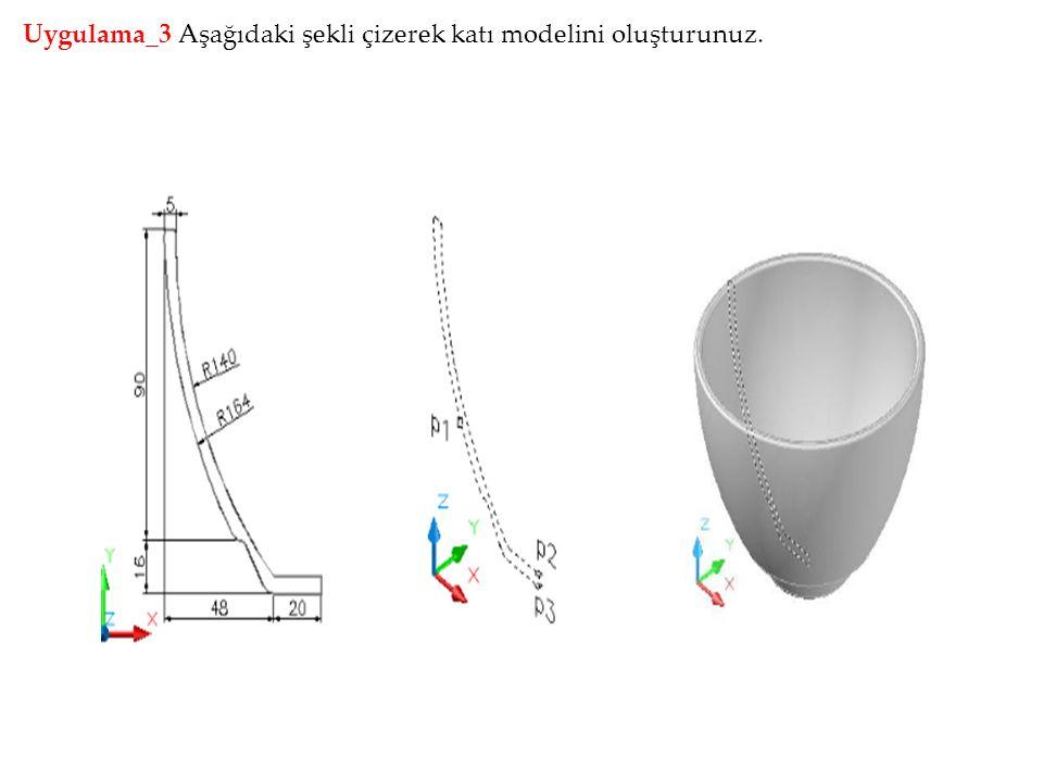 Uygulama_3 Aşağıdaki şekli çizerek katı modelini oluşturunuz.