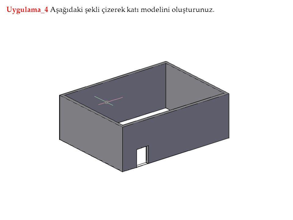 Uygulama_4 Aşağıdaki şekli çizerek katı modelini oluşturunuz.