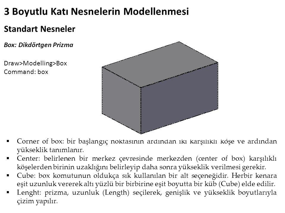 3 Boyutlu Katı Nesnelerin Modellenmesi Standart Nesneler Box: Dikdörtgen Prizma  Corner of box: bir başlangıç noktasının ardından iki karşılıklı köşe ve ardından yükseklik tanımlanır.