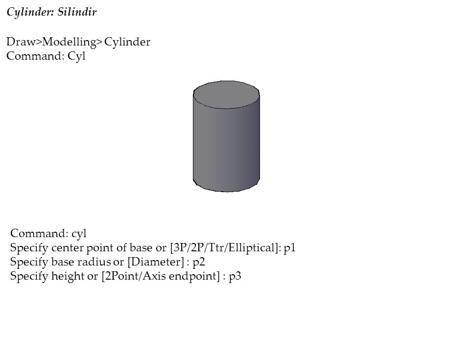 Cylinder: Silindir Command: cyl Specify center point of base or [3P/2P/Ttr/Elliptical]: p1 Specify base radius or [Diameter] : p2 Specify height or [2