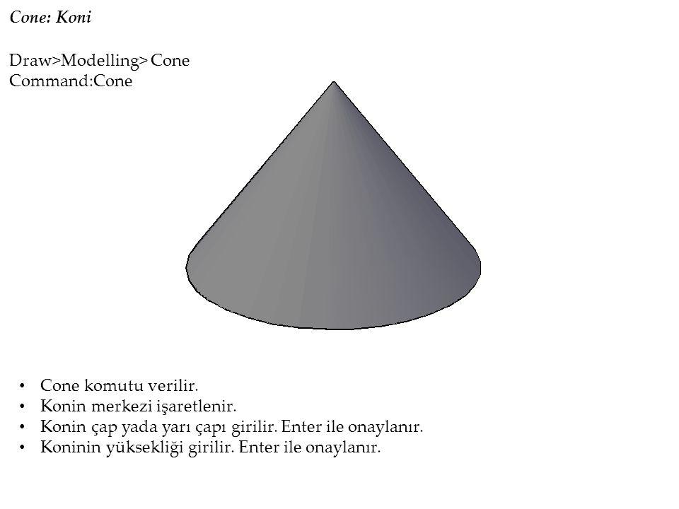 Cone: Koni Cone komutu verilir. Konin merkezi işaretlenir.
