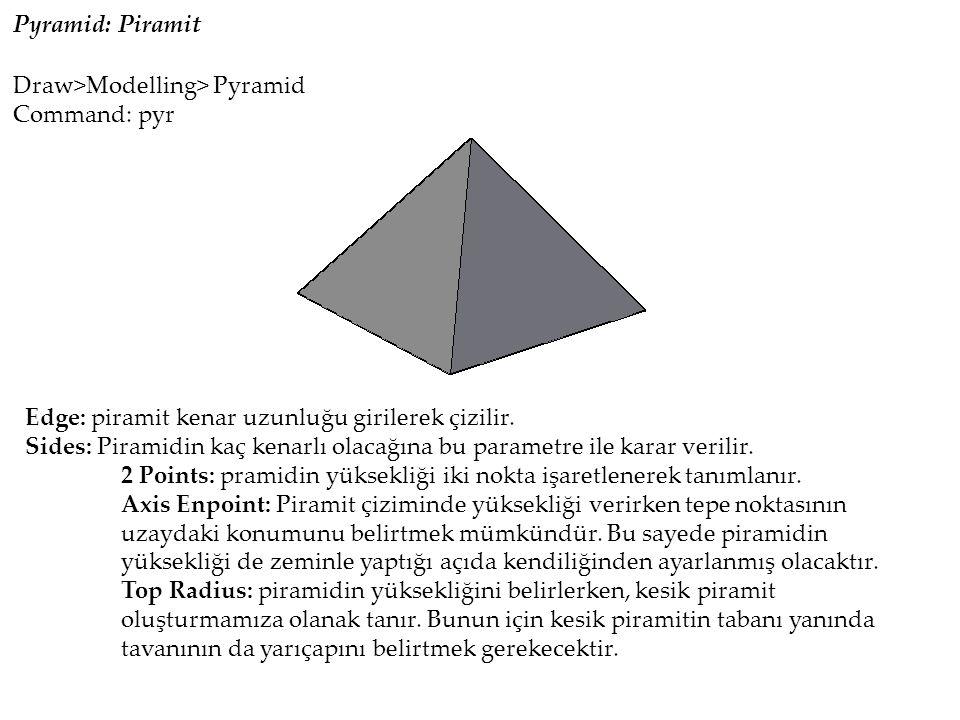 Pyramid: Piramit Edge: piramit kenar uzunluğu girilerek çizilir.