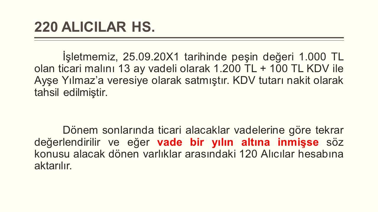 220 ALICILAR HS. İşletmemiz, 25.09.20X1 tarihinde peşin değeri 1.000 TL olan ticari malını 13 ay vadeli olarak 1.200 TL + 100 TL KDV ile Ayşe Yılmaz'a