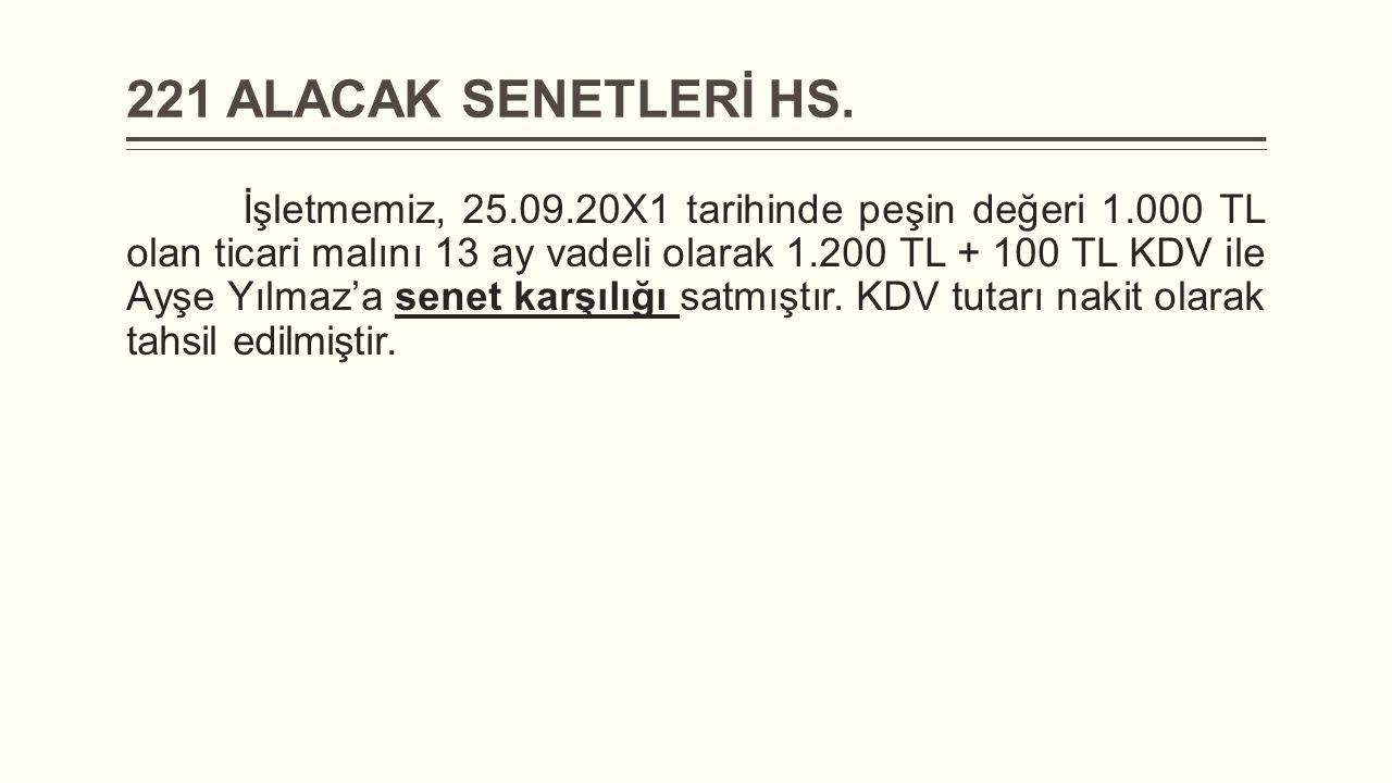 221 ALACAK SENETLERİ HS. İşletmemiz, 25.09.20X1 tarihinde peşin değeri 1.000 TL olan ticari malını 13 ay vadeli olarak 1.200 TL + 100 TL KDV ile Ayşe