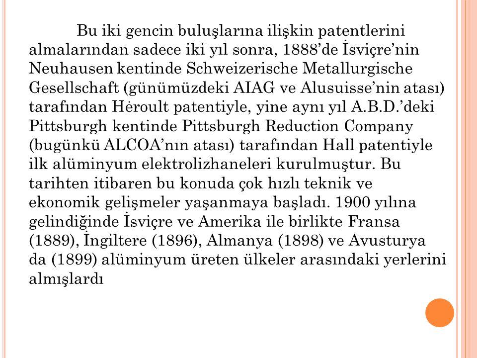 Bu iki gencin buluşlarına ilişkin patentlerini almalarından sadece iki yıl sonra, 1888'de İsviçre'nin Neuhausen kentinde Schweizerische Metallurgische Gesellschaft (günümüzdeki AIAG ve Alusuisse'nin atası) tarafından Hėroult patentiyle, yine aynı yıl A.B.D.'deki Pittsburgh kentinde Pittsburgh Reduction Company (bugünkü ALCOA'nın atası) tarafından Hall patentiyle ilk alüminyum elektrolizhaneleri kurulmuştur.