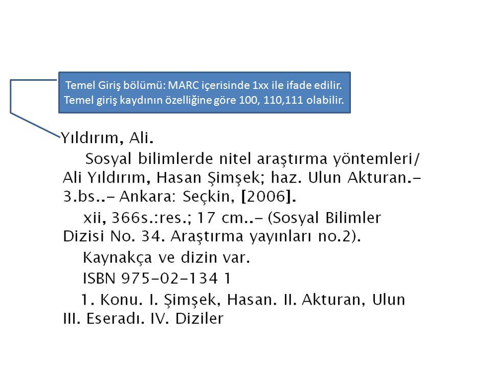 Temel Giriş bölümü: MARC içerisinde 1xx ile ifade edilir.