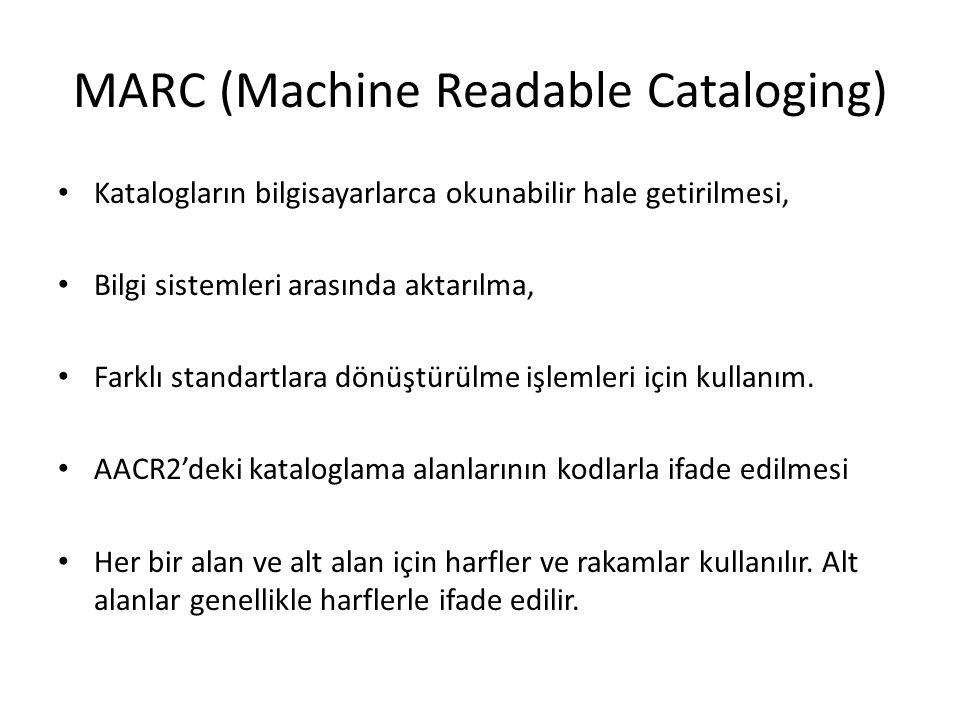 MARC (Machine Readable Cataloging) Katalogların bilgisayarlarca okunabilir hale getirilmesi, Bilgi sistemleri arasında aktarılma, Farklı standartlara dönüştürülme işlemleri için kullanım.