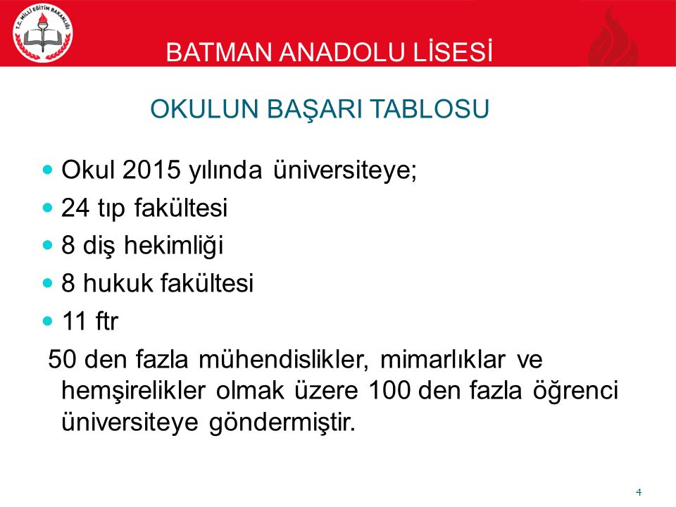 BATMAN ANADOLU LİSESİ LABORATUAR Fizik, kimya ve biyoloji Laboratuarı mevcuttur. 15