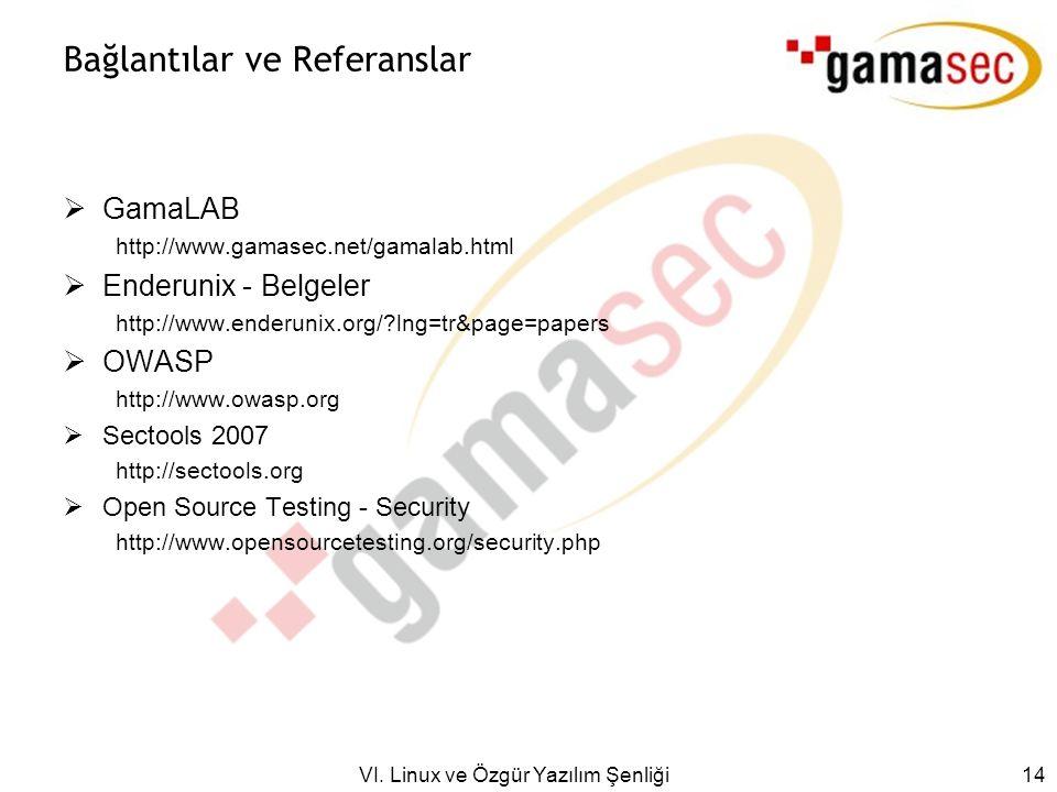 VI. Linux ve Özgür Yazılım Şenliği 14 Bağlantılar ve Referanslar  GamaLAB http://www.gamasec.net/gamalab.html  Enderunix - Belgeler http://www.ender