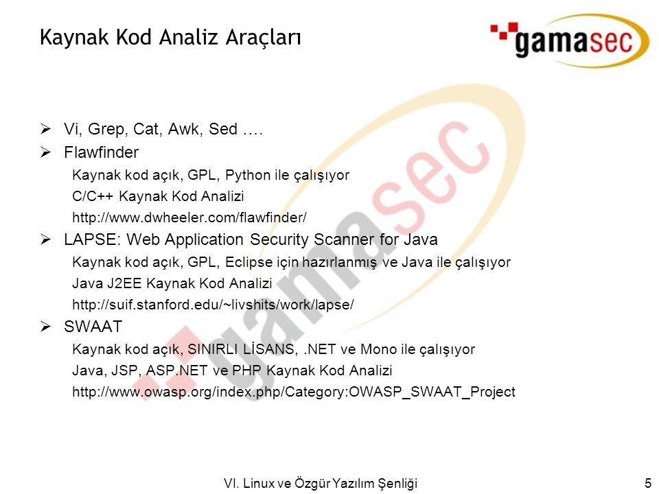 VI. Linux ve Özgür Yazılım Şenliği 5 Kaynak Kod Analiz Araçları  Vi, Grep, Cat, Awk, Sed ….
