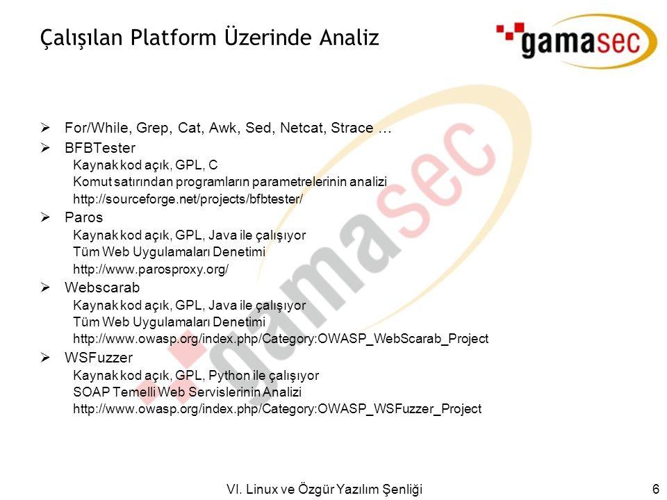 VI. Linux ve Özgür Yazılım Şenliği 6 Çalışılan Platform Üzerinde Analiz  For/While, Grep, Cat, Awk, Sed, Netcat, Strace …  BFBTester Kaynak kod açık