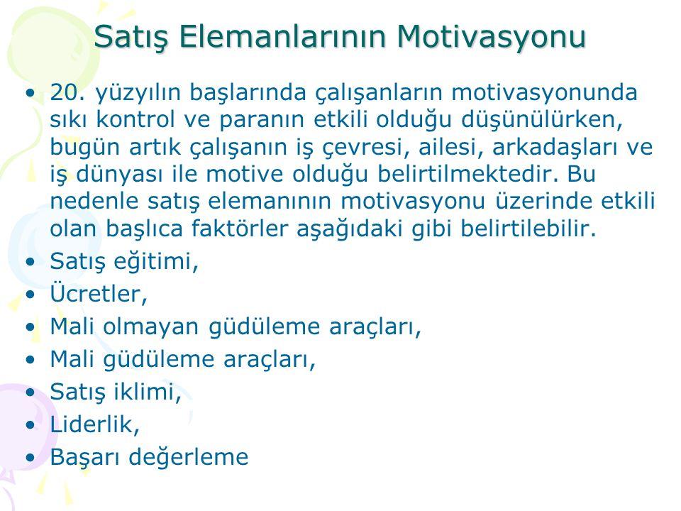 Satış Elemanlarının Motivasyonu 20.