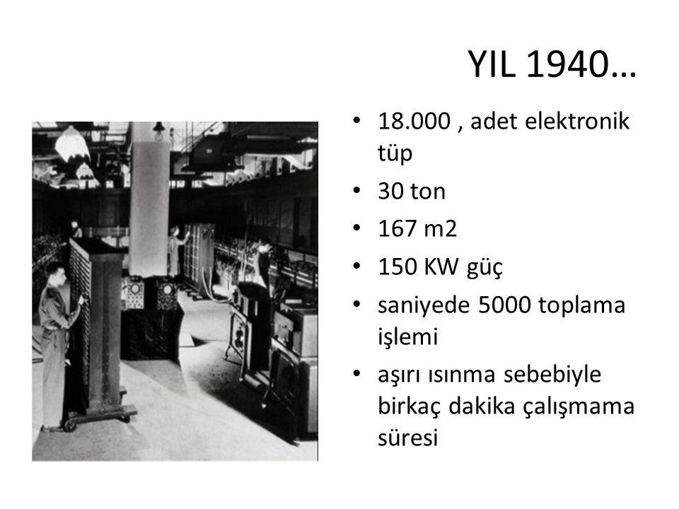 YIL 1940… 18.000, adet elektronik tüp 30 ton 167 m2 150 KW güç saniyede 5000 toplama işlemi aşırı ısınma sebebiyle birkaç dakika çalışmama süresi