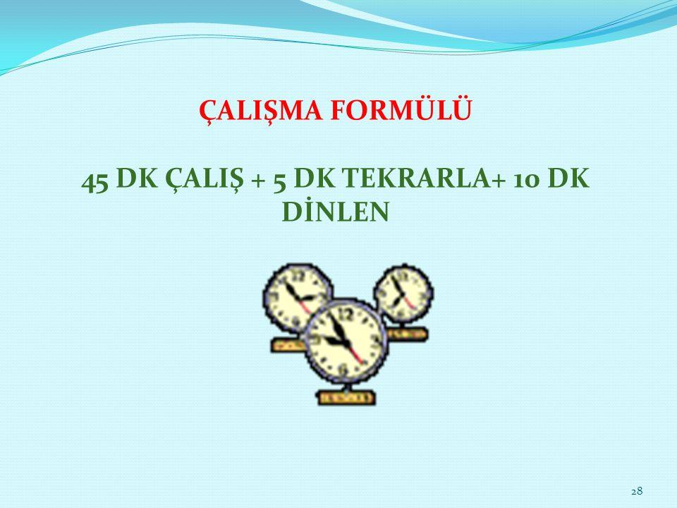 ÇALIŞMA FORMÜLÜ 45 DK ÇALIŞ + 5 DK TEKRARLA+ 10 DK DİNLEN 28