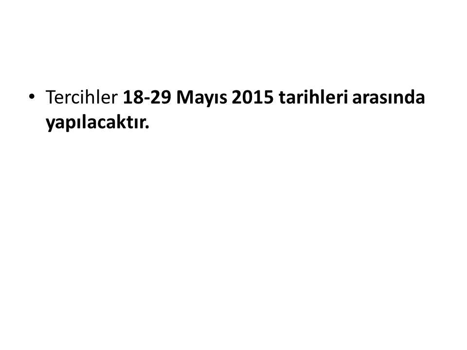 Tercihler 18-29 Mayıs 2015 tarihleri arasında yapılacaktır.